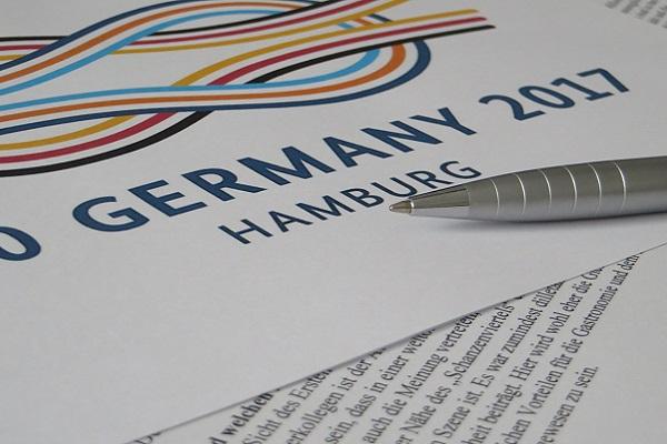 Logo des G20 Gipfels in Hamburg
